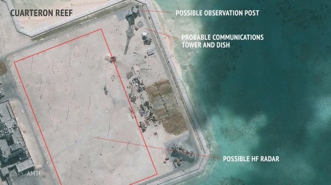Trung Quốc xây dựng bất hợp pháp trạm radar cao tần ở đá Châu Viên, quần đảo Trường Sa, Việt Nam. Ảnh: AMTI/CSIS.