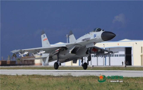 Trung Quốc đã triển khai bất hợp pháp máy bay chiến đấu J-11BH ở quần đảo Hoàng Sa, Việt Nam. Ảnh: Thời báo Hoàn Cầu, Trung Quốc.