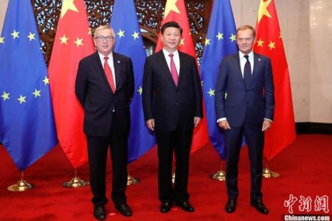 Chủ tịch Trung Quốc Tập Cận Bình gặp gỡ các nhà lãnh đạo EU. Ảnh: Chinanews