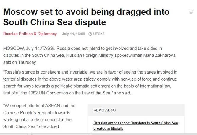 Bản tin của thông tấn Nga Tass đăng tải ngày 14/7/2016.