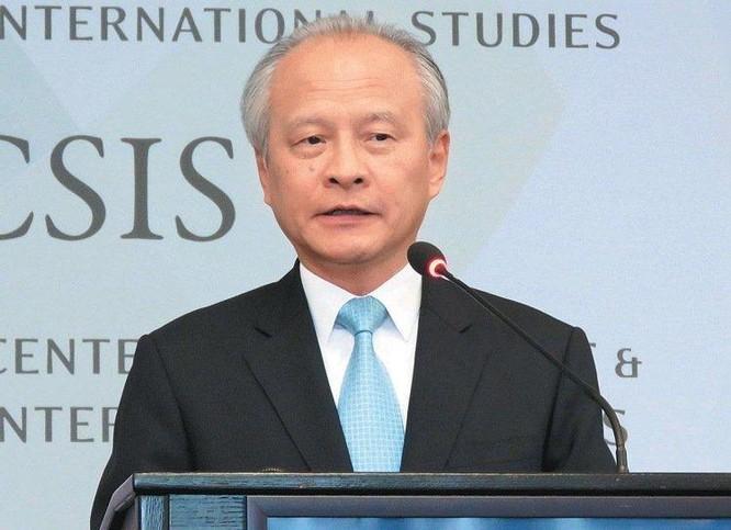 Đại sứ Trung Quốc tại Mỹ, ông Thôi Thiên Khải phát biểu tại Trung tâm nghiên cứu chiến lược và quốc tế (CSIS) ở Washington, Mỹ ngày 12/7/2016. Ảnh: UDN Đài Loan.