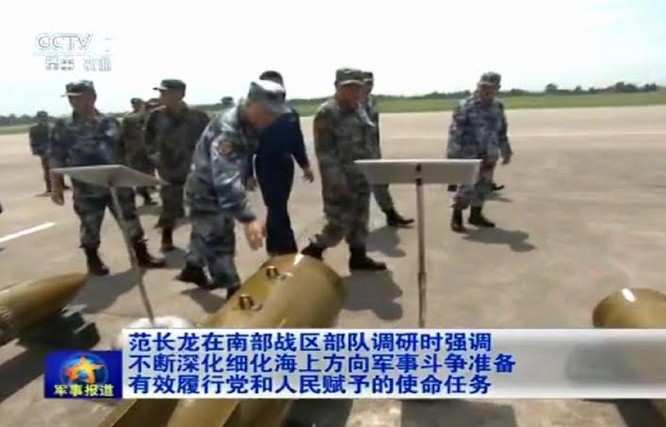 Thượng tướng Phạm Trường Long, Ủy viên Bộ Chính trị, Phó Chủ tịch Quân ủy Trung ương Trung Quốc cùng các tướng lĩnh cấp cao của PLA thị sát Chiến khu miền Nam. Ảnh: CCTV/Thời báo Hoàn Cầu, Trung Quốc.