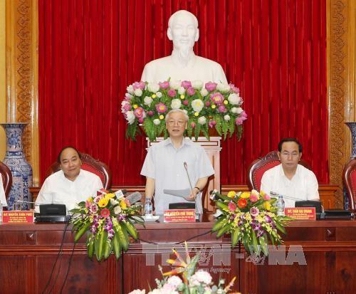 Tổng Bí thư Nguyễn Phú Trọng phát biểu tại lễ công bố. Ảnh: Trí Dũng/ TTXVN