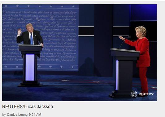 Hai ứng viên đang tranh luận