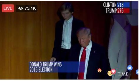 Vợ chồng ông Trump vui mừng vì thắng cử