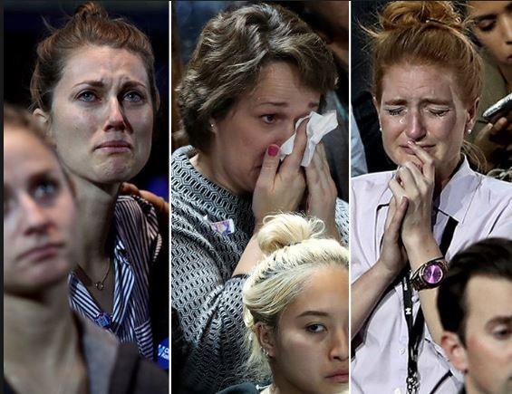 Những người ủng hộ bà Clinton đã bật khóc.