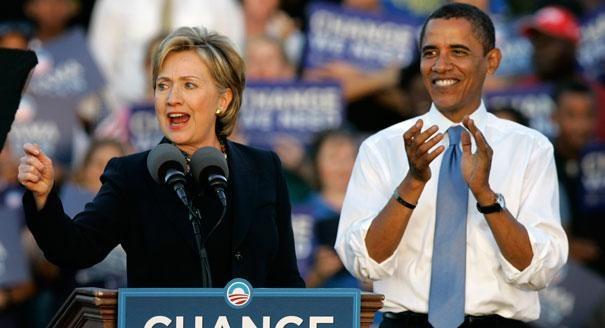 Bà Hillary Clinton và ông Obama (ảnh tư liệu minh họa)