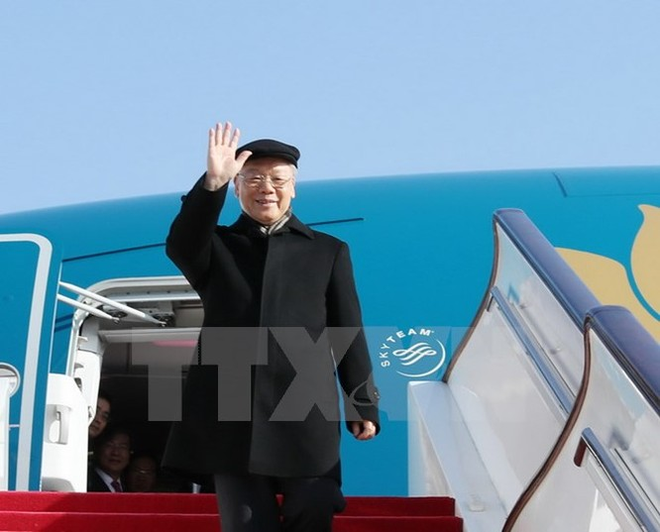 Tổng Bí thư Nguyễn Phú Trọng đến Sân bay Quốc tế Bắc Kinh. (Ảnh: Trí Dũng/TTXVN)