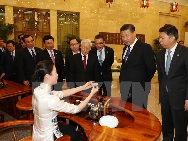 Tổng Bí thư, Chủ tịch nước Trung Quốc Tập Cận Bình chủ trì Tiệc chiêu đãi trọng thể chào mừng Tổng Bí thư Nguyễn Phú Trọng và Đoàn cấp cao Việt Nam. (Ảnh: Trí Dũng/TTXVN)