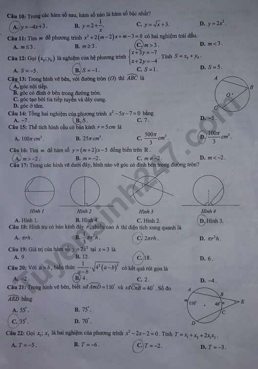 Đáp án đề thi tuyển sinh vào lớp 10 môn Toán tỉnh Hưng Yên ảnh 2