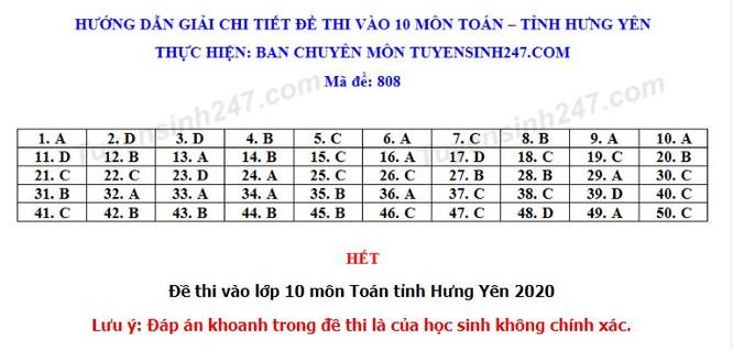 Đáp án đề thi tuyển sinh vào lớp 10 môn Toán tỉnh Hưng Yên ảnh 5