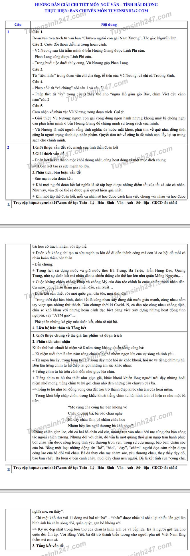 Tra cứu online đáp án đề thi vào lớp 10 môn Văn tỉnh Hải Dương 2020 ảnh 2