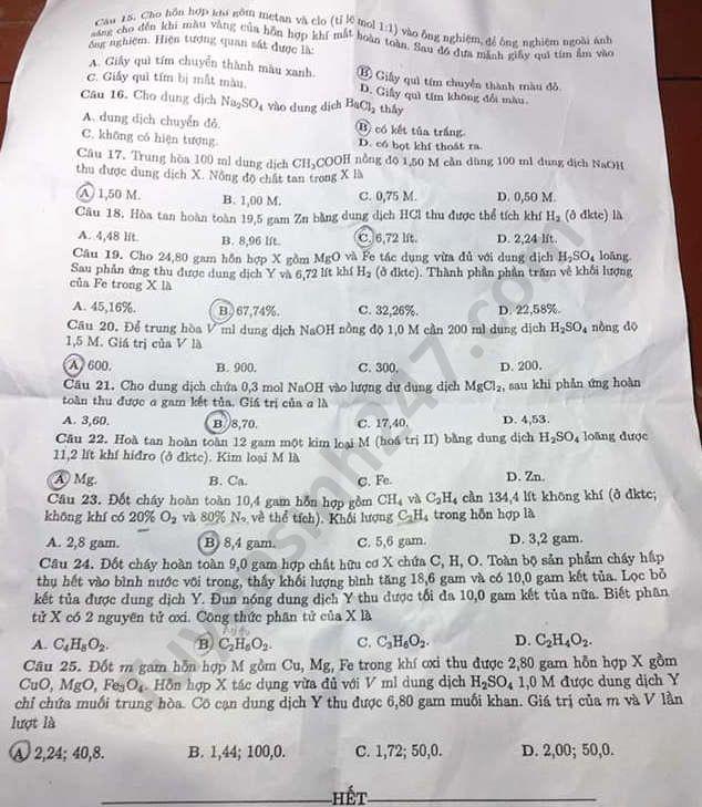 Tra cứu online đáp án đề thi tuyển sinh vào lớp 10 môn Hóa tỉnh Hải Dương ảnh 2