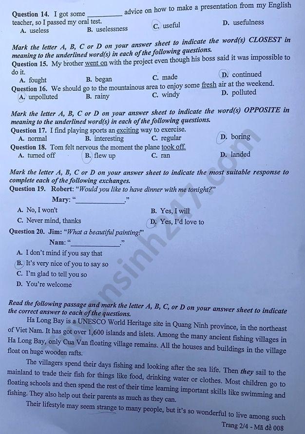 Tra cứu online đáp án đề thi tuyển sinh vào lớp 10 môn Tiếng Anh ở Hà Nội năm 2020 ảnh 2