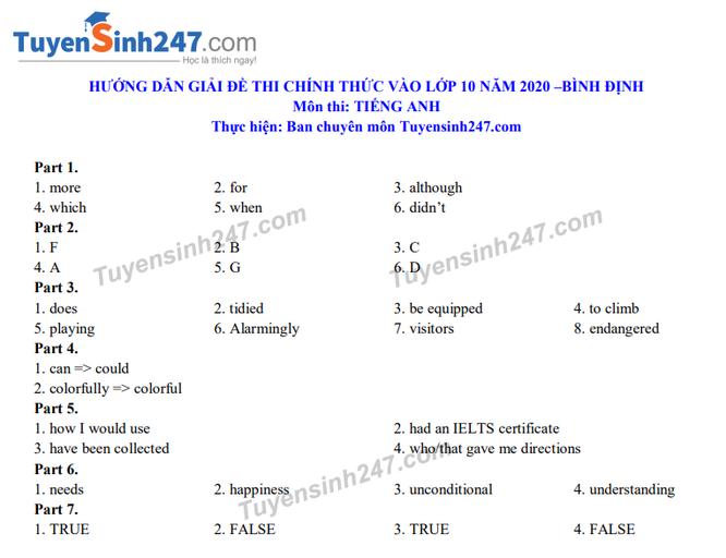 Tra cứu online đáp án đề thi tuyển sinh vào lớp 10 môn Tiếng Anh tỉnh Bình Định năm 2020 ảnh 2