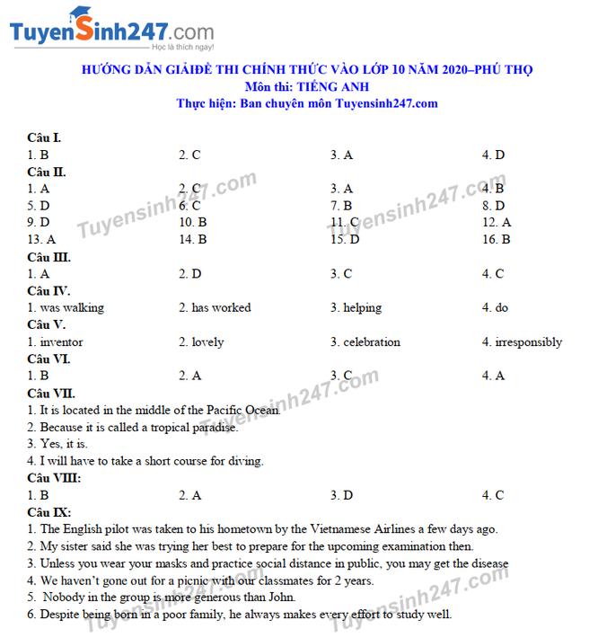Tra cứu online đáp án đề thi tuyển sinh vào lớp 10 môn Tiếng Anh tỉnh Phú Thọ năm 2020 ảnh 4
