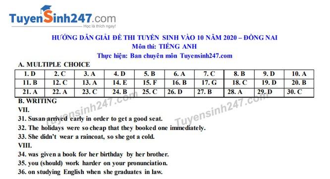 Tra cứu online đáp án đề thi tuyển sinh vào lớp 10 môn Tiếng Anh tỉnh Đồng Nai năm 2020 ảnh 5
