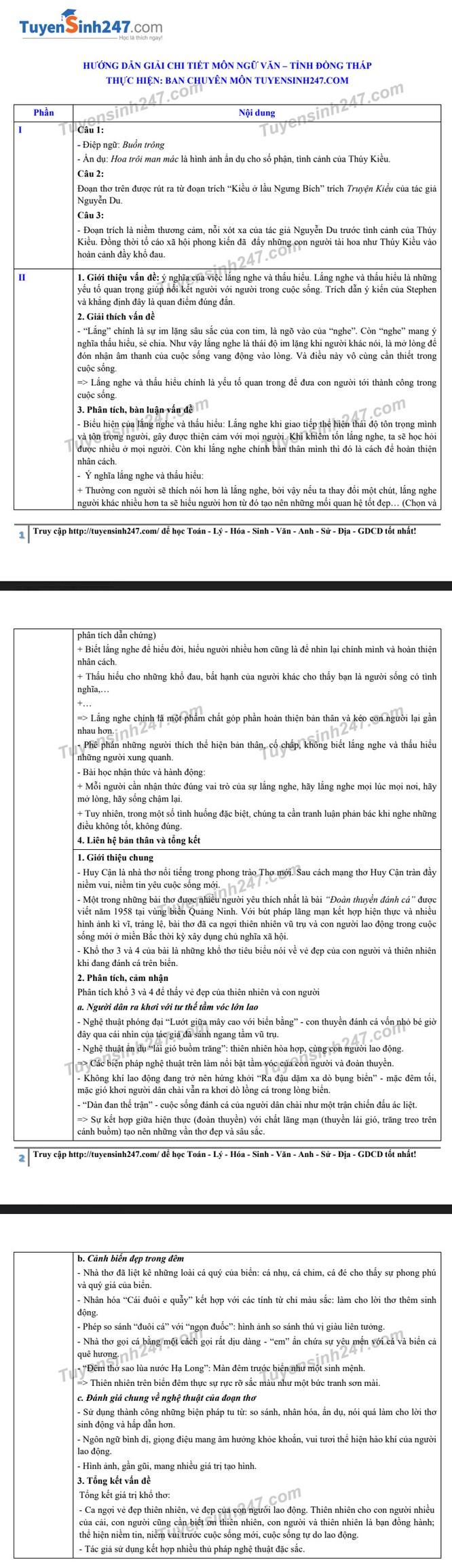 Tra cứu online đáp án đề thi tuyển sinh vào lớp 10 môn Ngữ Văn tỉnh Đồng Tháp năm 2020 ảnh 2