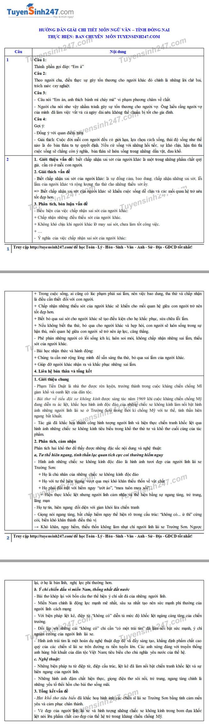 Tra cứu online đáp án đề thi tuyển sinh vào lớp 10 môn Ngữ Văn tỉnh Đồng Nai năm 2020 ảnh 2