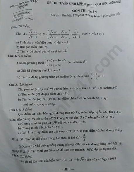 Tra cứu online đáp án đề thi tuyển sinh vào lớp 10 môn Toán tỉnh Thái Bình năm 2020 ảnh 1