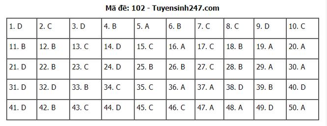 Tra cứu online đáp án đề thi THPT môn Toán 2020 mã đề 102 ảnh 7