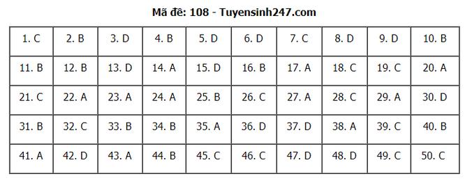 Tra cứu online đáp án đề thi THPT môn Toán 2020 mã đề 108 ảnh 7