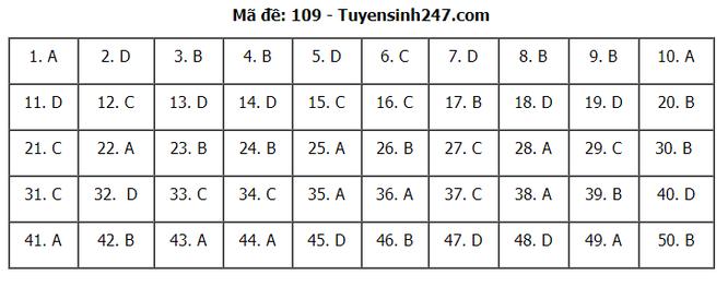 Tra cứu online đáp án đề thi THPT môn Toán 2020 mã đề 109 ảnh 6