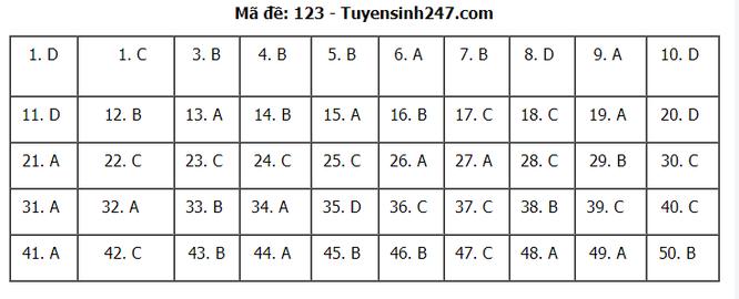 Tra cứu online đáp án đề thi THPT môn Toán 2020 mã đề 123 ảnh 7