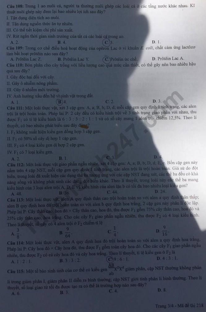 Tra cứu online đáp án đề thi THPT môn Sinh Học 2020 mã đề 218 ảnh 3
