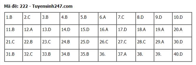 Tra cứu online đáp án đề thi THPT môn Vật Lý 2020 mã đề 222 ảnh 5