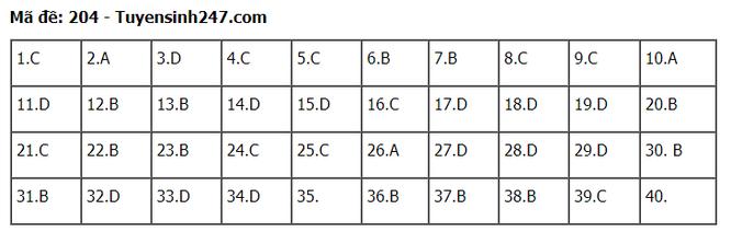 Tra cứu online đáp án đề thi THPT môn Vật Lý 2020 mã đề 204 ảnh 6