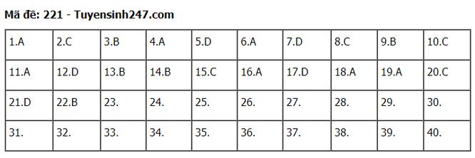 Tra cứu online đáp án đề thi THPT môn Vật Lý 2020 mã đề 221 ảnh 1