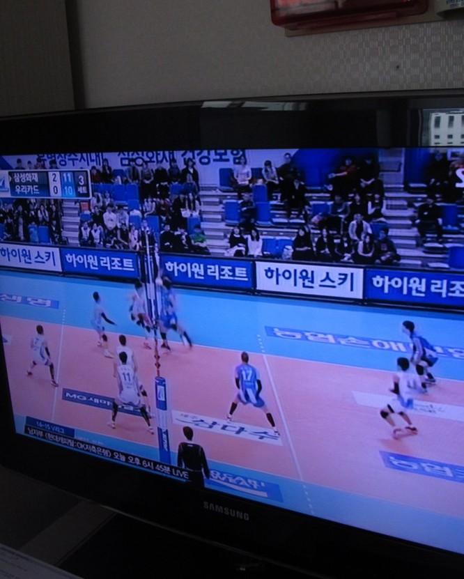 TV chiếu một trận bóng chuyền, xem một lúc tôi mới nhận ra đây là đội nữ Samsung Insurance.