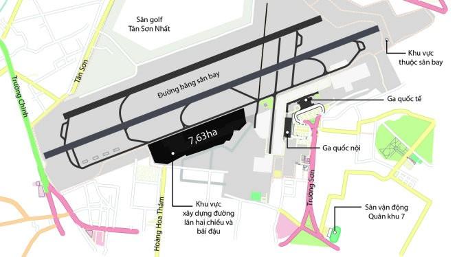 Khu vực mở rộng đường lăn, bãi đậu sân bay Tân Sơn Nhất có diện tích 7,63ha