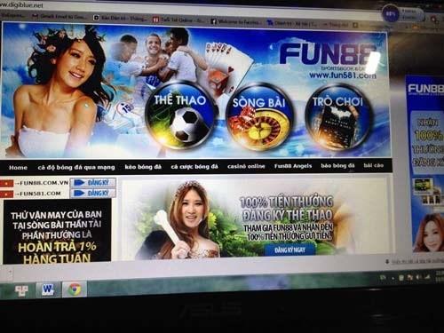 Trang web cá cược Fun88.com (Ảnh Dân trí)