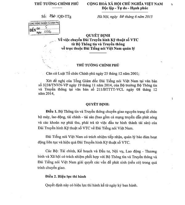 Thủ tướng ký quyết định chính thức chuyển VTC về VOV ảnh 1