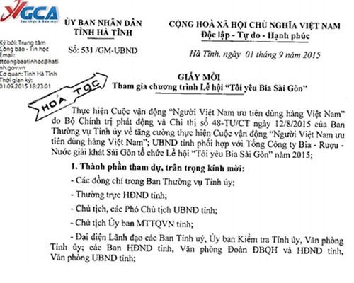 Ảnh giấy mời của Chánh văn phòng UBND tỉnh Hà Tĩnh dùng dấu hỏa tốc yêu cầu lãnh đạo tham dự lễ hội bia - VĐ chụp lại