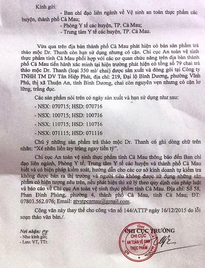 Cà Mau từ chối tiếp người tự xưng nhân viên Tân Hiệp Phát ảnh 1
