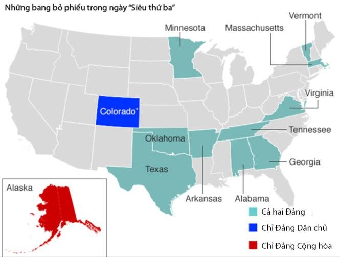 Ngày siêu bầu cử Mỹ: Bà Clinton thắng 8 bang, ông Trump thắng 7 bang ảnh 1