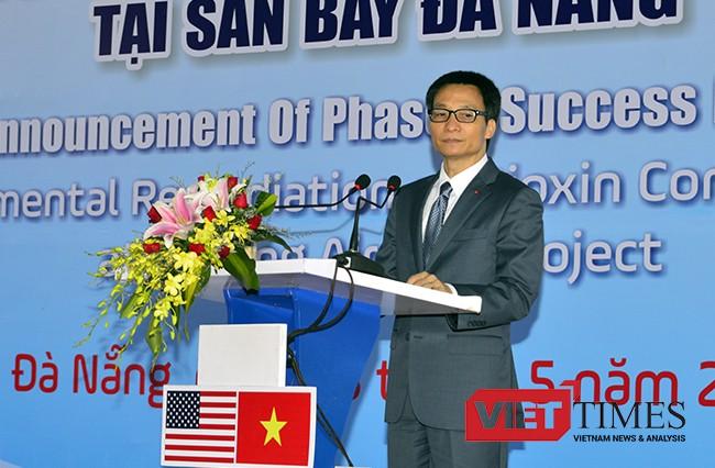 Phó Thủ tướng Vũ Đức Đam phát biểu tại sự kiện hoàn thành giai đoạn 1 xử lý dioxin tại Sân bay Đà Nẵng