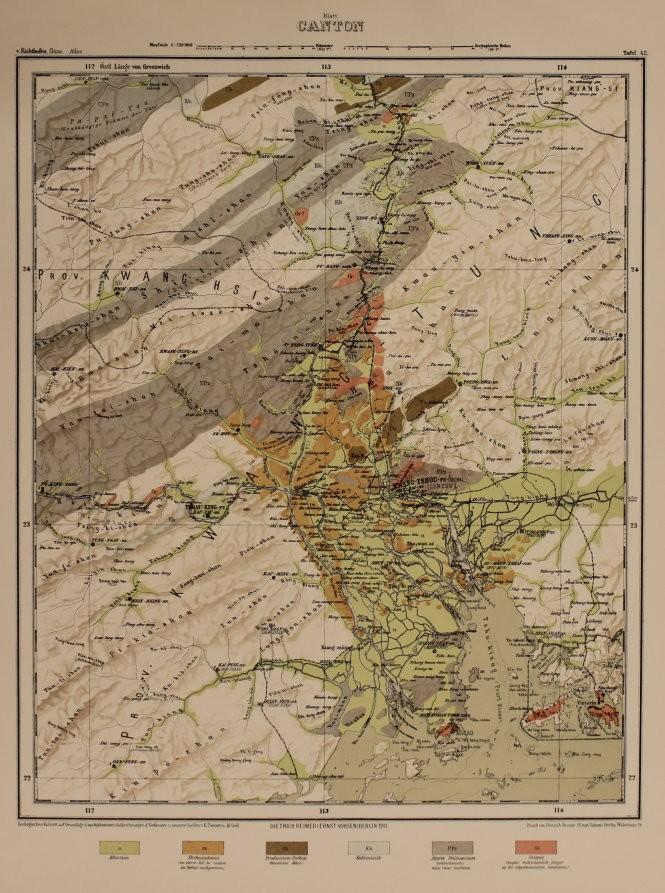 """Bản đồ Canton (Quảng Đông) trong tập II bộ """"Atlas von China"""" không vẽ đảo Hải Nam - Ảnh: T.Đ.A.S."""