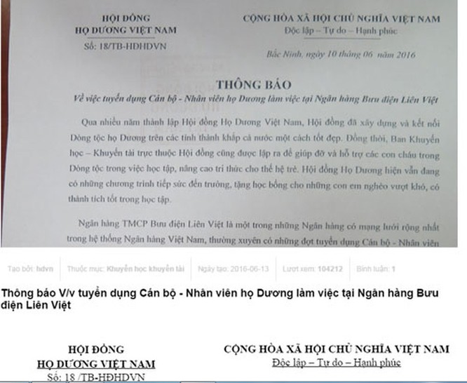 Thông báo tuyển người của ngân hàng Liên Việt
