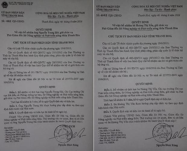 Hai quyết định bổ nhiệm Phó Giám đốc Sở NNPTNT của Thanh Hóa