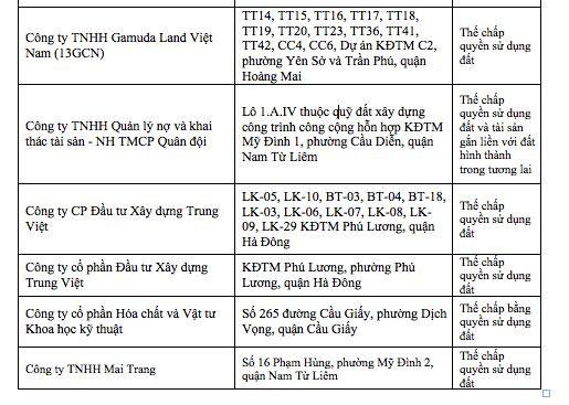 """Hàng loạt ông lớn BĐS Hà Nội có tên trong danh sách """"cắm"""" dự án tại ngân hàng ảnh 2"""