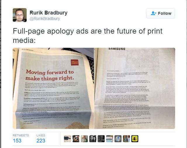 Samsung dành hẳn 1 trang trên báo giấy để đăng thư xin lỗi người dùng vì sự cố Note 7 ảnh 1