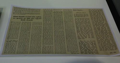 Bài tham luận của GS Đào Xuân Sâm đăng trên mục Diễn đàn kinh tế của báo Nhân dân năm 1986. Ảnh:Hoàng Phương.