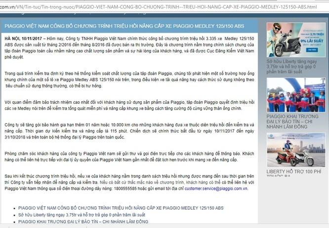 Piaggio Việt Nam đang triệu hồi nâng cấp 3.335 sản phẩm lỗi ảnh 1