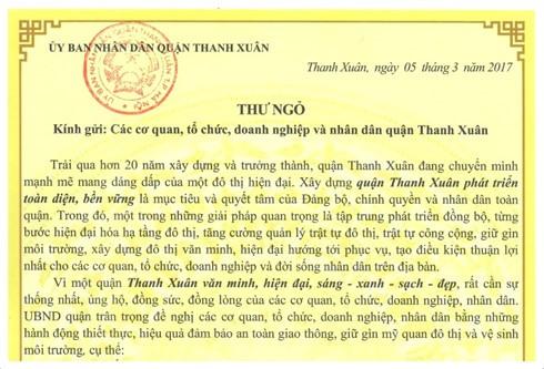 Chủ tịch quận Thanh Xuân, Hà Nội viết thư đề nghị trả lại vỉa hè ảnh 1