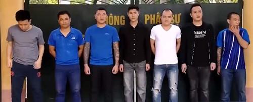 7 nghi can đang bị tạm giam tại Công an tỉnh Thanh Hóa. Ảnh: C.A.