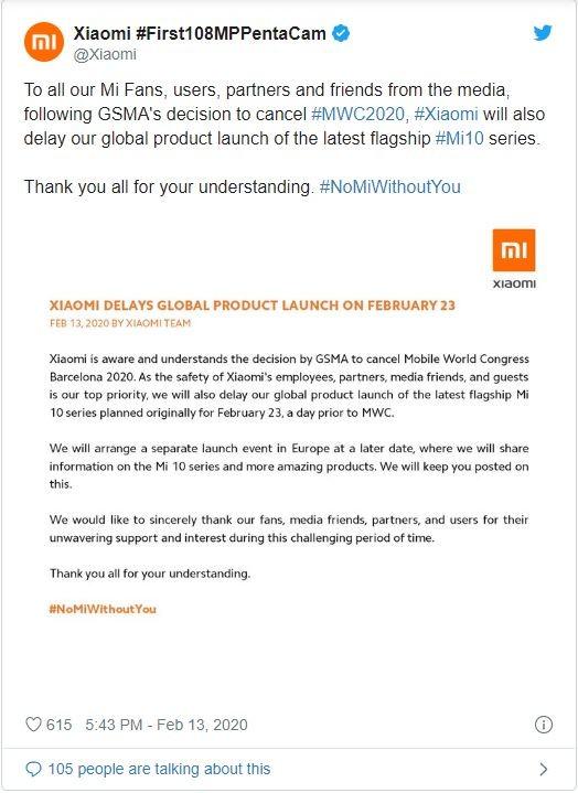 Xiaomi thông báo hoãn lịch ra mắt Mi 10 và Mi 10 Pro phiên bản quốc tế ảnh 1